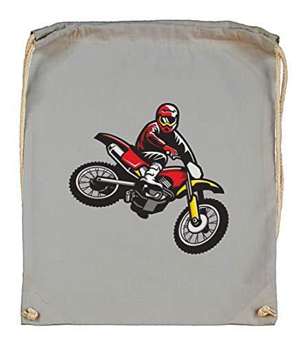 Druckerlebnis24 Turnbeutel - Springen Enduro Motocross Motorrad - Stoffbeutel aus Bio Baumwolle