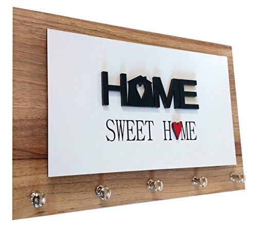 Porta Chaves e Cartas - Home Sweet Home Color - Madeirado