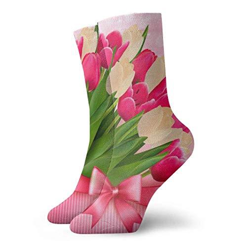 Kevin-Shop Día de la Madre Tulipanes Flores Calcetines Calcetines de Vestir Casuales Ropa de Moda Calcetines Lindos Calcetines Tobilleros para Estudiantes