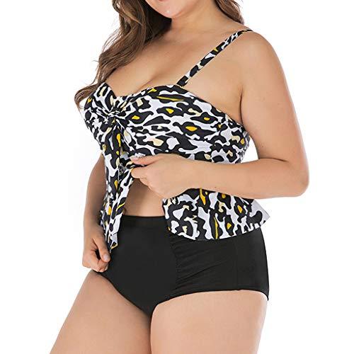 Sexy Plisado De Cintura Alta Bikini Traje De Baño De Las Señoras Más El Tamaño De Vendaje Estampado De Leopardo De Volantes Trajes De Baño Conservador Grueso Sujetador Bikini Split
