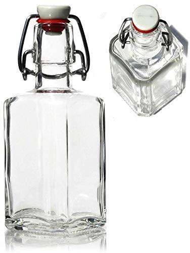 6 botellas de cristal cuadradas de 25 cl, tapón con bisagra, 6,5 cm x 6,5 cm, altura 15 cm