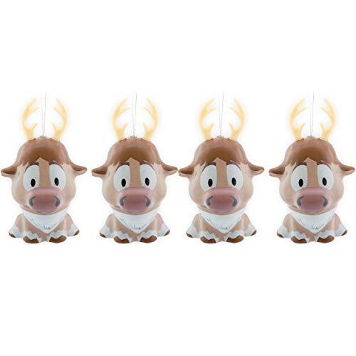 Disney Frozen Christmas Ornaments Set ~ 4 Pack Bundle Sven Reindeer Ornaments with Christmas Tree Hooks (Disney Frozen Christmas Decorations)