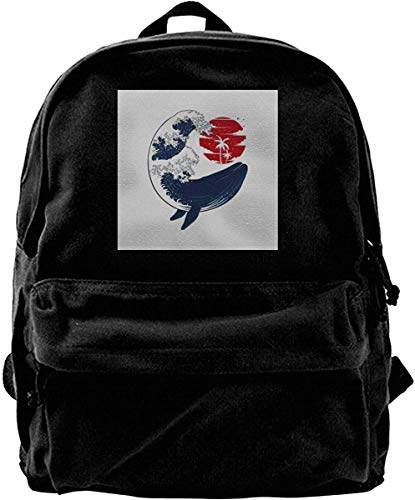 Yuanmeiju Leinwand Rucksack Whale Wave Hokusai Style Rucksack Fitnessstudio Wandern Laptop Umhängetasche Daypack für Männer Frauen