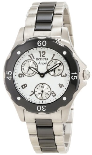 Invicta Women's 1654 Angel White Dial Black Ceramic and Watch