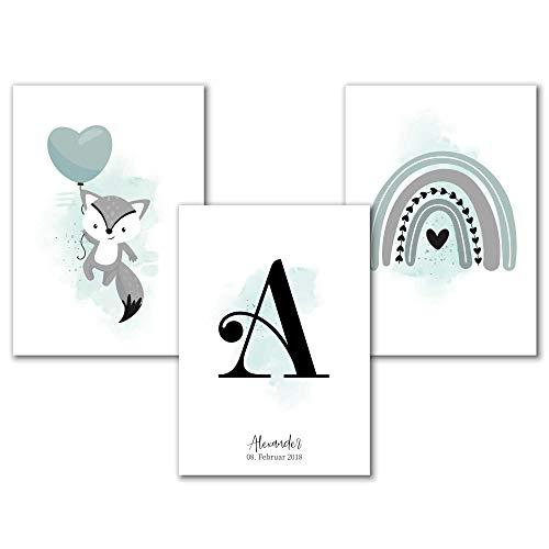 Personalisiertes Aquarell Kinderzimmer Poster Set mit Buchstabe in Mint für Mädchen oder Jungen, Spruch Bilder Babyzimmer Wanddeko, A4 Tierbilder Fuchs Regenbogen
