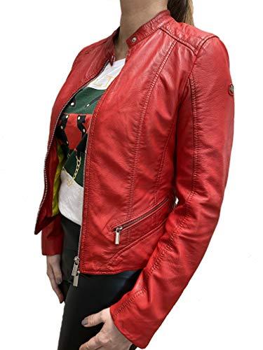MILESTONE Deike Damen Lederjacke aus Lamm Nappa Leder (40, Rot)