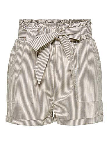 Only Onlsmilla Stripe Belt Dnm Shorts Noos Pantalones Cortos con Cinturón, Marrón (Toasted Coconut), XL para Mujer