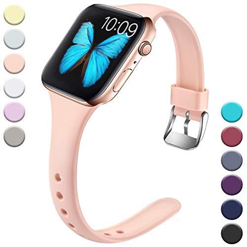 Wepro Kompatibel für Apple Watch Armband 38mm 40mm, Schlank Dünnes Weiches Silikon Ersatzarmband mit Klassischer Schnalle für Apple Watch Series 5/4/3/2/1 S/M, Sand Rosa
