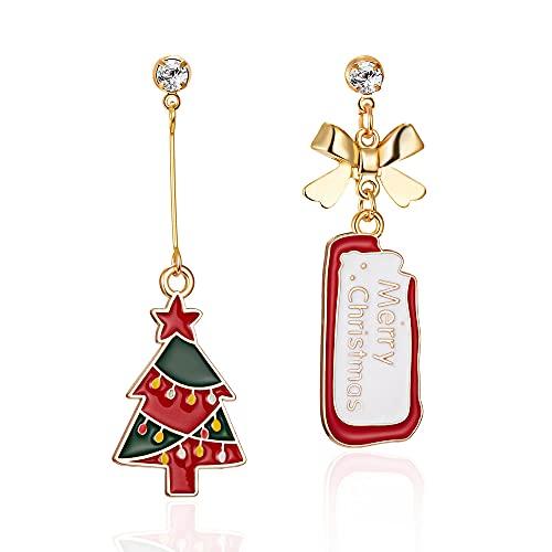 QTSUANNAI Pendientes de Navidad asimétricos para mujer – Campanas de alce de árbol de Navidad, pendientes de Papá Noel para mujeres y niñas, árbol de Navidad rojo