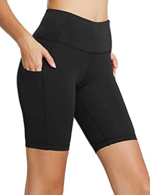 "BALEAF Women's 8"" High Waist Biker Workout Yoga Running Compression Exercise Shorts Side Pockets Black Size M"
