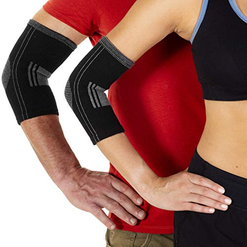 Kompressions-Ellenbogenbandage aus Baumwolle bei Gelenkschmerzen, Arthritis, Sehnenscheidenentzündungen, Verletzungserholung, Tennisarm, Golfarm für Damen und Herren. Weich und antiallergisch, klein