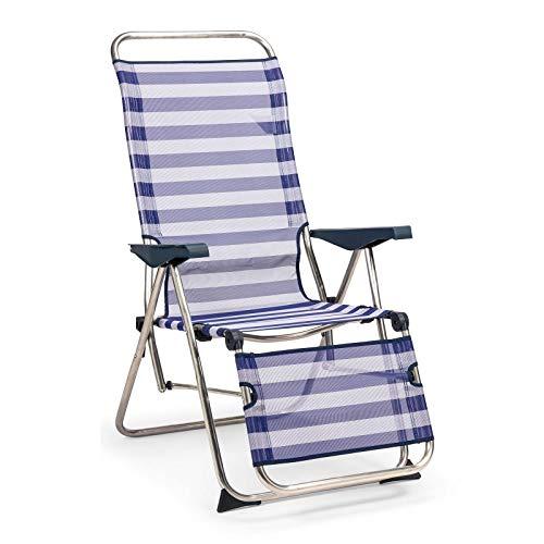 SOLENNY 50001072735212 - Tumbona Regulable de Jardín Relax 5 Posiciones con Respaldo Anatómico Azul y Blanco