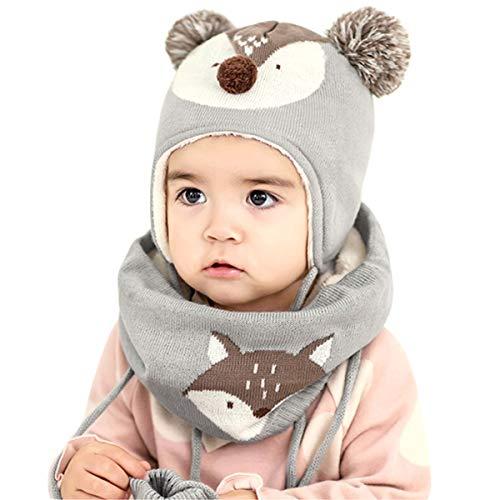 DORRISO Unisex-Baby Jungen Mädchen Mütze Schal Handschuh Set Frühling Winter Beanie Strickmütze Niedlich klein Fuchs Wintermütze 1-6 Jahre alt