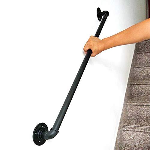 TINS Main courante Rampes de tuyauterie industrielles for escaliers, Rampe de sécurité Murale, décor de Maison, Rampe, Rampe d'escalier for intérieur extérieur - Noir Mat (2ft/60cm, Black)