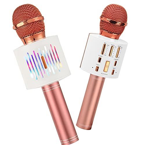 Wireless Karaoke Machine for party,4 en 1Micrófonos de karaoke para niños, Luces LED Micrófono portátil compatible con dispositivos Android e iOS ,regalo para niños y niñas Age4+