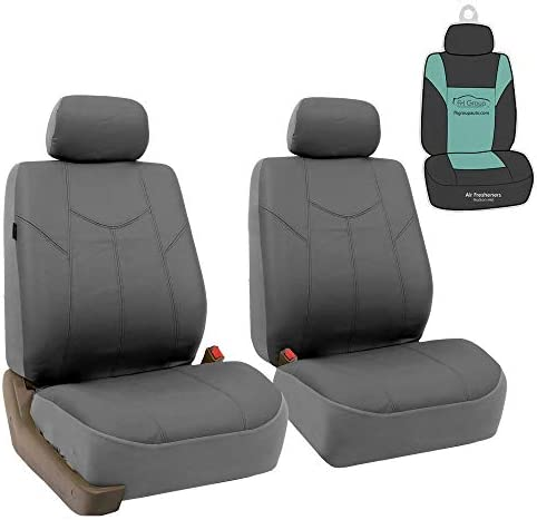 FH Group PU009102 Rome PU Leather Front Set Car Seat Covers Airbag Compatible Solid Gray w Fits product image