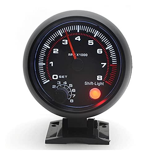 medidores para coches Tacómetro universal 3.75' RPM Calibre con luz de cambio rojo para el automóvil de gasolina 0-8000 RPM 4 6 8 Cilindros Conjuntos de calibre automotriz