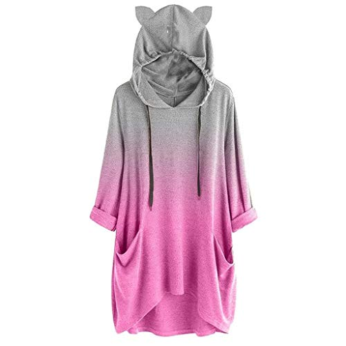 iHENGH Damen Frauen langes Hülsen Steigungs Farben Katzen Ohr mit Kapuze Sweatshirt Pullover TopBlouse(Pink, 3XL)