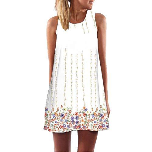 Vestidos Verano Mujer ,3D Colorées Petites Fleurs Imprimer Robe Blanche Vest, Summer Round Neck Sans Bretelles Robes Sans Manches, Mini A Ligne Jupe Beach Jupes, Boho Femmes Casual Robes Lâches, Po