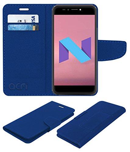 Acm Leather Flip Wallet Case Compatible with Micromax Selfie 2 Q4311 Mobile Cover Blue