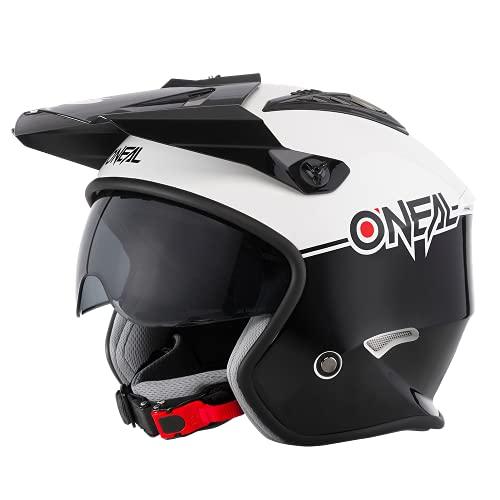 O\'NEAL | Motorrad-Helm | Enduro Adventure Street | Sicherheitsnormen ECE 22.05, ABS-Schale, integrierte Sonnenblende | Volt Helmet Cleft | Erwachsene | Schwarz Weiß | Größe L