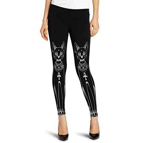 Komise Frauen ägyptische Katze Stempel Hippie Gothic dünne beiläufige Hosen Strumpfhosen Leggings (XL, Schwarz)