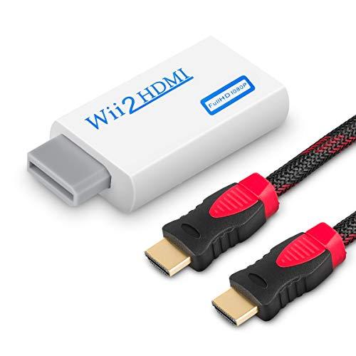 WOVTE Wii zu HDMI Konverter Real 720P 1080P HD Ausgang Video Audio Konverter Adapter mit High Speed HDMI Kabel 1,8 m unterstützt alle Wii Display-Modi