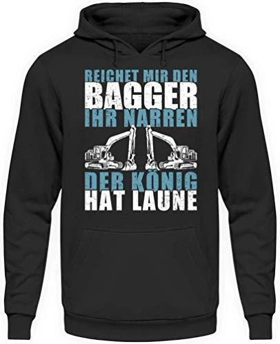SHIRTBRÜDER Reichet Mir den Bagger Ihr Narren der König hat Laune - Hoody Herren - Perfekt für die Arbeit Lustige Sprüche Hoodie Pulli (XL)