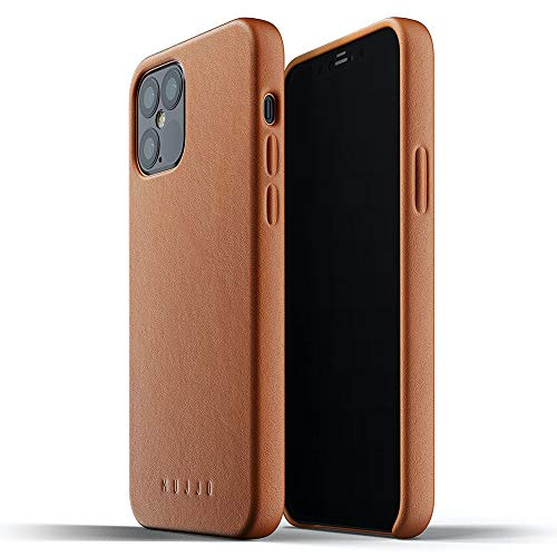 Mujjo Full Leather Case for iPhone 12 Pro / iPhone 12 | Premium Genuine Leather, Natural Aging Effect | Slim Fit Design, Wireless Charging (Tan)