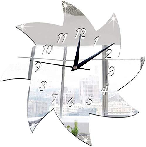 Orologio da parete Clode 28x28cm 3D Orologio da parete specchio per mulino a vento fai-da-te orologio decorativo set adesivi effetto specchio decalcomanie in vetro acrilico decorazione rimovibile ca