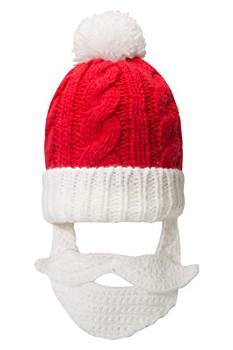 Mountain Warehouse Weihnachtsmannbart-Beanie - Weich, warm, mit leichtem, kompaktem, daran befestigtem Strickbart - ideal für Weihnachten, Winterspaziergänge, Outdoor Rot Einheitsgröße