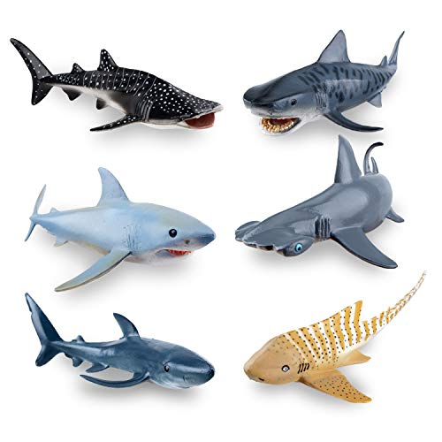 "TOYMANY 6PCS 5-8"" L Realistic Shark Bath Toy Figurines, Plastic Ocean Sea Animals Figures Set Includes Whale Shark,Tiger Shark,Mako Shark, Cake Toppers Christmas Birthday Gift for Kids Toddlers"