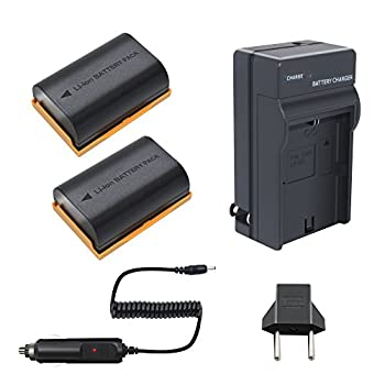 Bonacell LP-E6 Replacement Battery 2 Pack  and Charger Kit Compatible with Canon EOS R 80D 60D 60Da EOS 70D EOS 5D Mark II/III/IV EOS 5DS EOS 5DS R EOS 6D 6D Mark II EOS 7D 7D Mark II