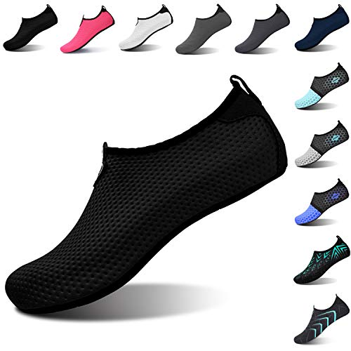 L-RUN Womens Water Shoes Barefoot Skin Aqua Sock for Run Dive Surf Swim Beach Yoga Pure Black M(W:6.5-7.5)=EU37-38