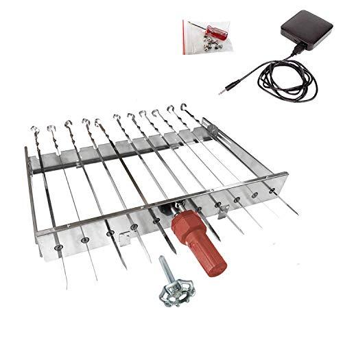 Olymp Mehrfacher Drehspieß Sesam mit Motor und Powerbank für 11 Spieße, L-62 cm, Breite regulierbar 24-40 cm