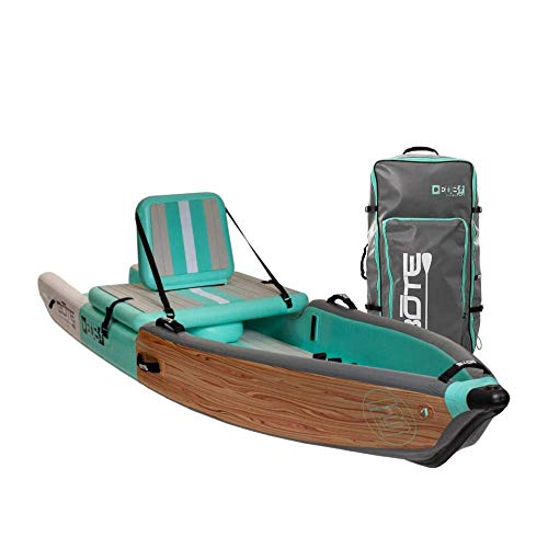 BOTE Deus Aero Inflatable Kayak & Stand Up Paddle Board with Accessories | Pump, Fin, Travel Bag, Classic Teak