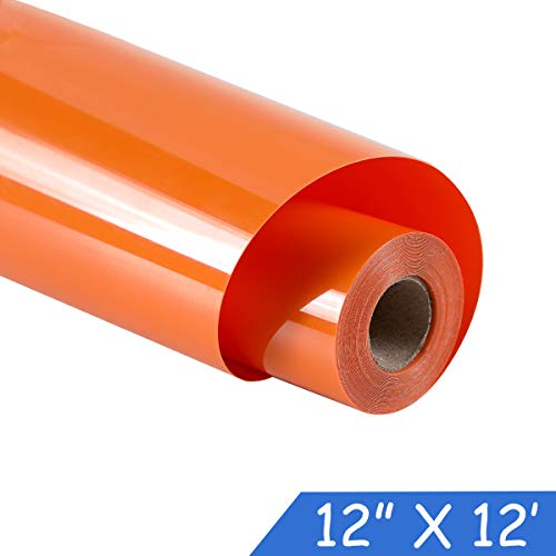 "guangyintong Heat Transfer Vinyl for T-Shirts 12"" x 12ft Roll Glossy (Orange K7)"