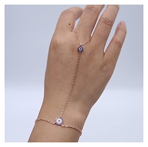 baidicheng Cadena de dedo más popular chapado en plata de color oro rosa cadena larga para mujeres y señoras del mal de ojo, pulseras de mano con 16+5 cm (color metal: color oro rosa)