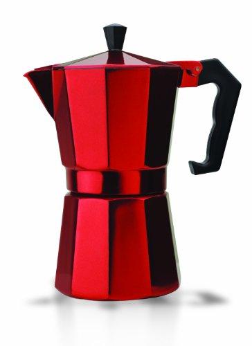 Primula Aluminum Stove Top Maker, Percolator Pot for Espresso, Moka, Cuban Coffee, Cappuccino, Latte and More, Perfect for Camping, 6 Cups, Red