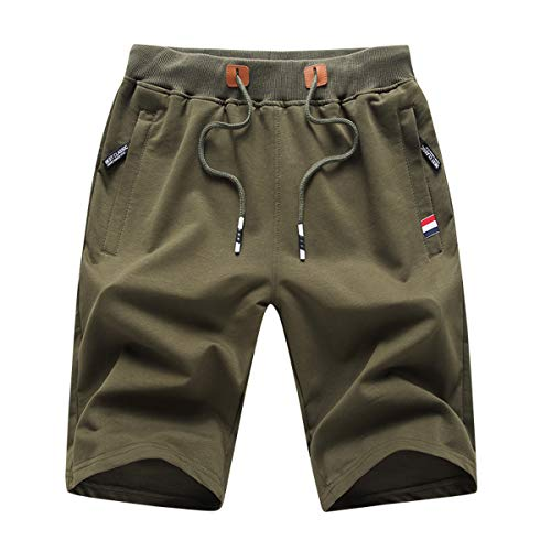 Tansozer Pantaloncini Uomo Shorts Uomo Cotone Sportivi Pantaloncini Running Corti Pantaloncini Palestra Uomo con Tasche Estivi Pantaloncini Corsa Verde M