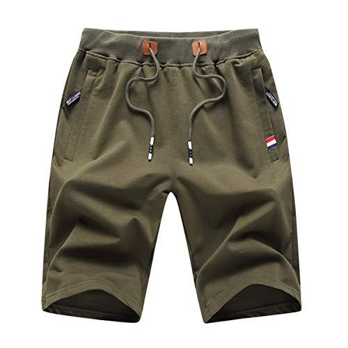 Tansozer Kurze Hosen Herren Shorts Sommer Jogginghose Kurz Baumwolle Gym Sweat Shorts Herren Sport (Green,L)