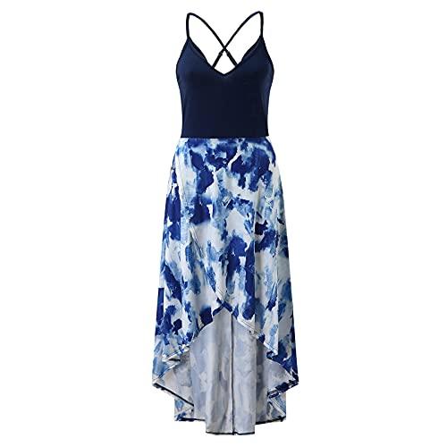 OUDE Damen Casual V-Ausschnitt Ärmellos Asymmetric Parkett Blumen Langes Kleid Damenmode Blumen Sling Kleid