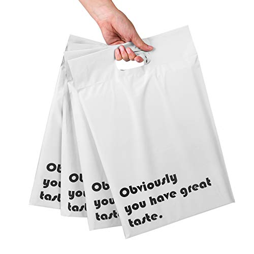 RUSPEPA Poly Mailers 10x13 Inch White with Build-in Handle Shipping Bags 3 Mil Pretty Thick Self Adhesive Mailing Envelopes - 50 Pack