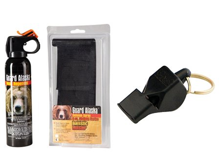 Pepper Defense Bundle - Guard Alaska 9 oz. Bear Spray Repellent + Belt Clip Holster + Fox40 115 dB Safety Whistle - Camping and Hiking Protection Pack