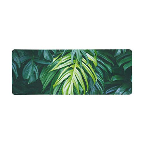 InterestPrint Soft Extra Extended Large Gaming Mouse Pad with Stitched Edges, Desk Pad Keyboard Mat, Non-Slip Base for Office & Home, 31.5 x 12In - Tropical Green Palm Leaves Summer Forest Plant