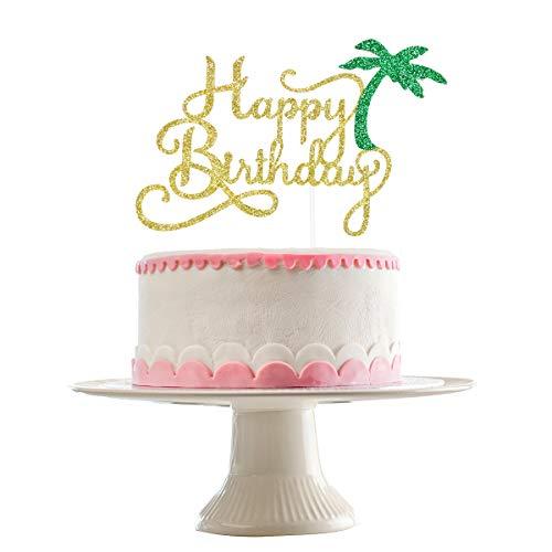 Gold Glittery Coconut Tree Happy Birthday Cake Topper- Hawaii Theme Birthday Party Decorations,Hawaii Luau Beach Birthday Cake Decor(Double Sided Glittery)