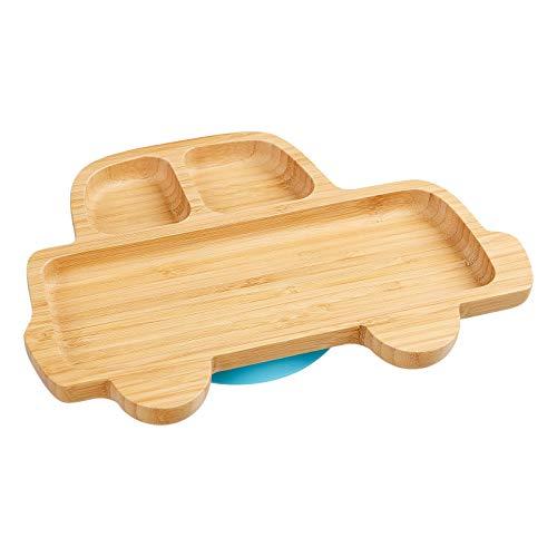 """Jantaki Kinder-Teller\""""Auto\"""" aus naturbelassenem Bambus mit blauem Saugnapf, rutschfest; Essen für die Kleinsten mit Spaß und ohne Stress; kein Kleckern und noch mal so lecker, Plastikfrei"""