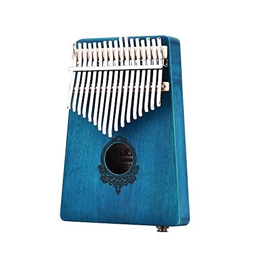 Geschenk für Kinder Erwachsene Anfänger Beruf 17 Keys Mbira afrikanischen Mahagoniholz Finger Mbira Kalimba Keyboard Daumenklavier Finger Schlaginstrument (Color : Blue, Size : with Pickup)