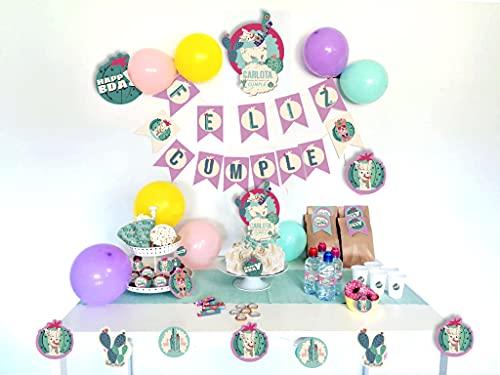 NO APLICA Decoración de Fiesta de cumpleaños, Tema (Llamas) Guirnalda de Feliz Cumple, Decoración de Pastel, Toppers para Cupckakes, Guirnalda para Mesa (78), Piezas Personalizadas, Todo en un Pack