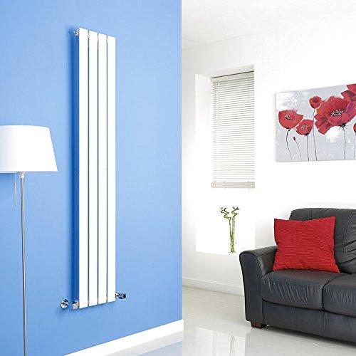 Hudson Reed Radiador de Diseño Moderno Vertical Delta - Radiador con Acabado Blanco - Paneles Planos - 1600 x 280mm - 586W - Calefacción